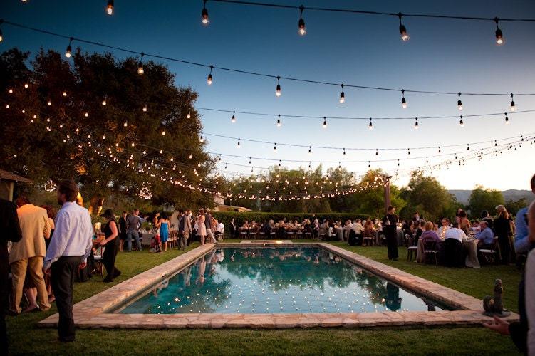 Outdoor string lighting for wedding party patio indoor vintage