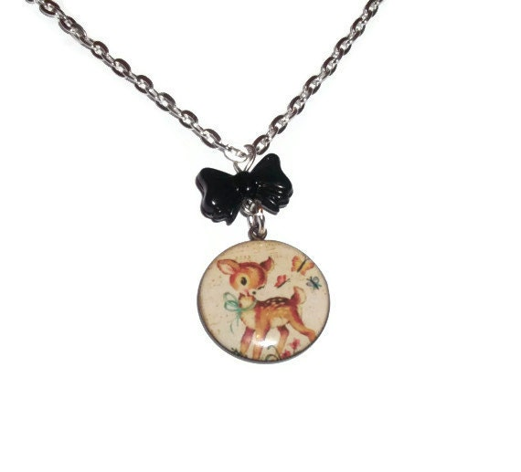 baby deer necklace retro kitsch jewelry by
