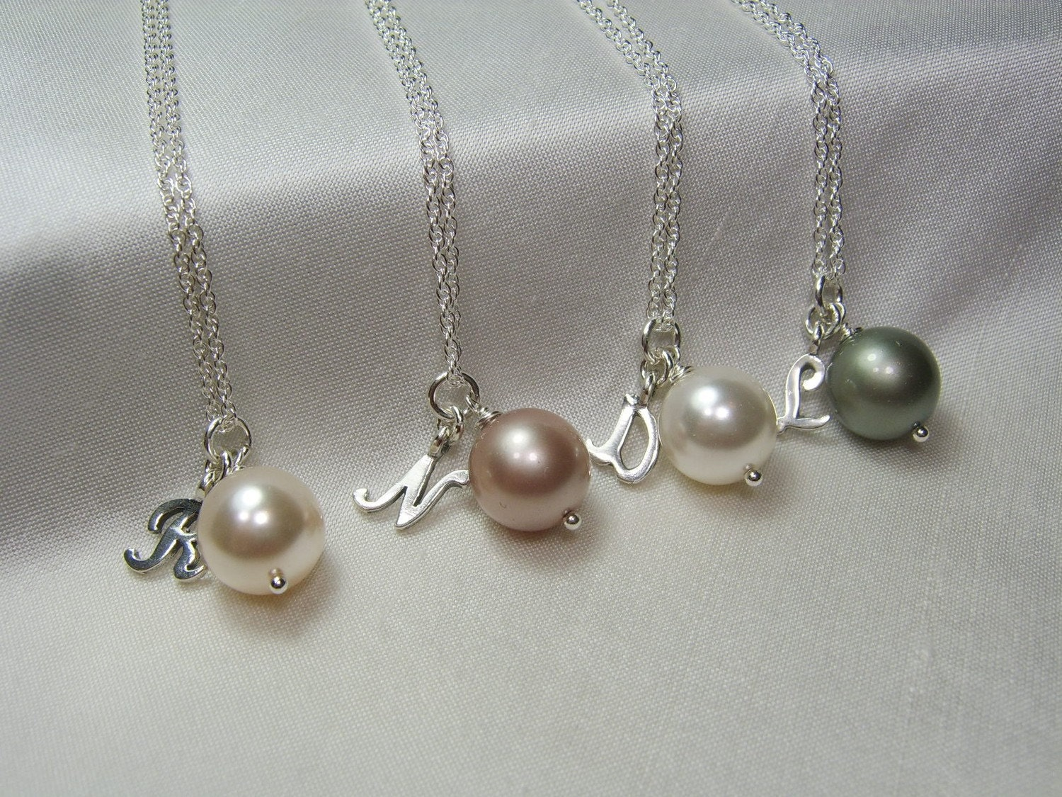 Initial Necklace with Swarovski Pearl