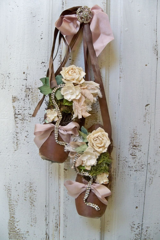 Vintage Ballet Pointe Toe Shoes Embellished By
