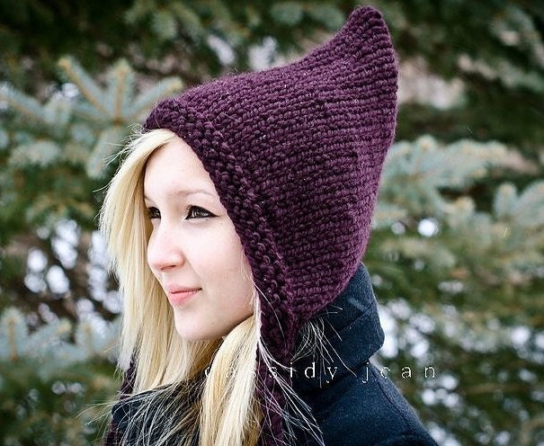 Handmade Knit Hat - Pixie Hat in Aubergine