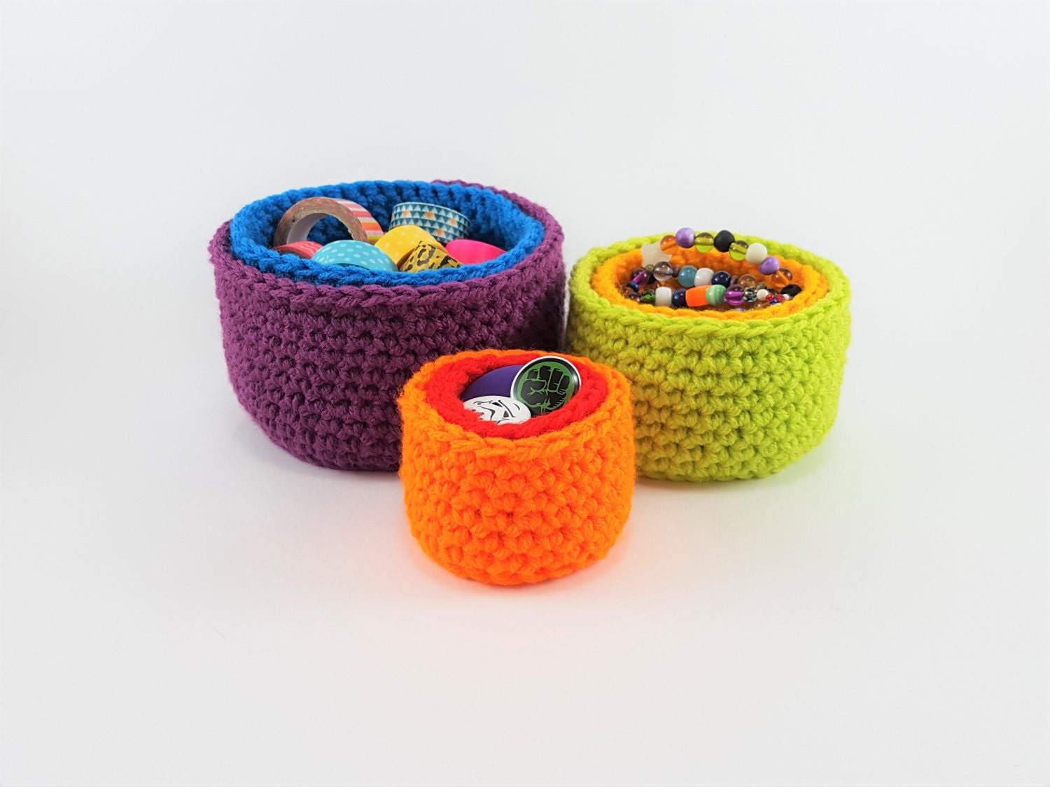 Rainbow Stacking Pots  Useful Storage  Crocheted  Bright Acrylic Yarn  Purple Blue Green Yellow Orange Red  Fun  Ready To Ship