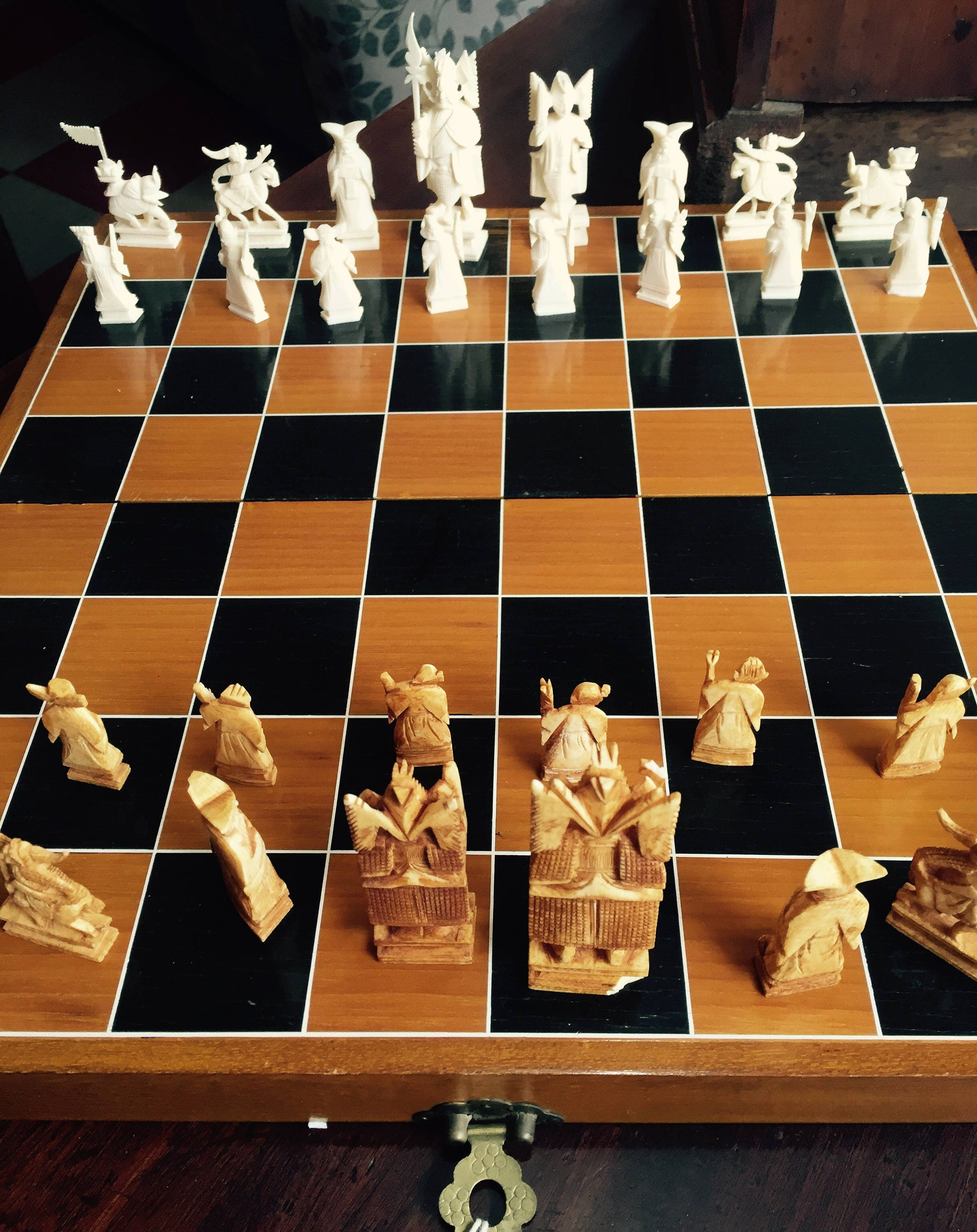 Folding chess set hand carved pieces