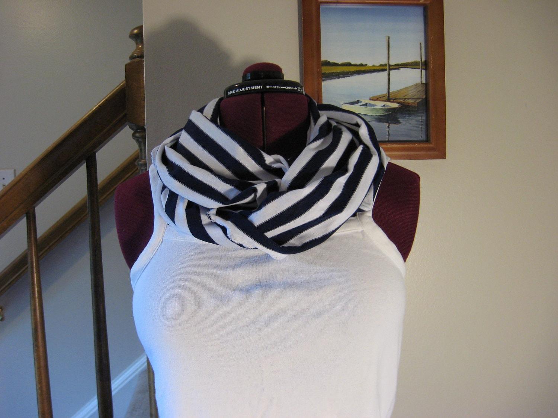 Infinity scarf in nautical blue stripe