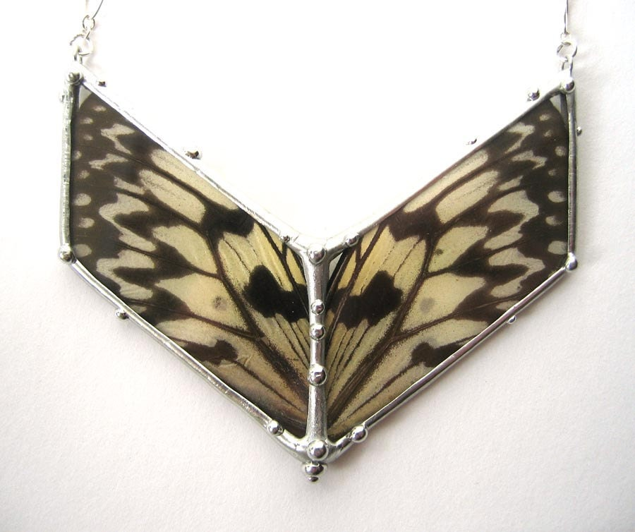 Large Black and White Butterfly Chevron Necklace - neile