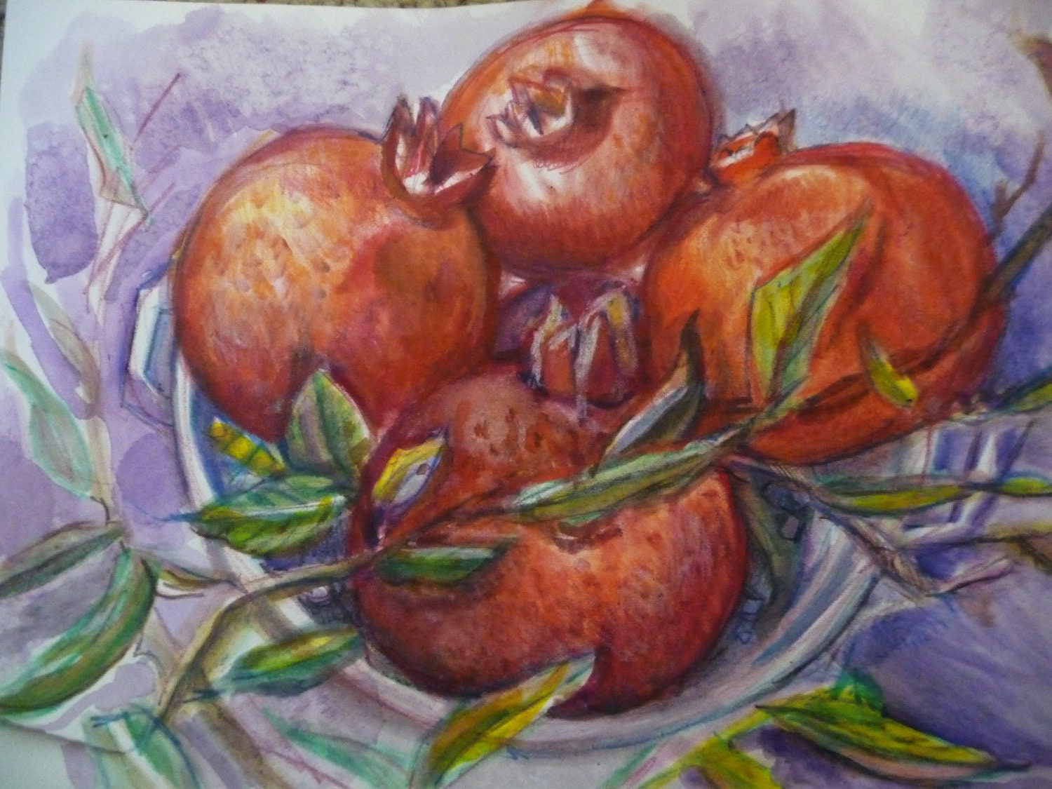 Original Watercolor Pomegranate, Still Life, Red and Tasty Art, Kitchen Art, Kitchen Decor, Pomegranates