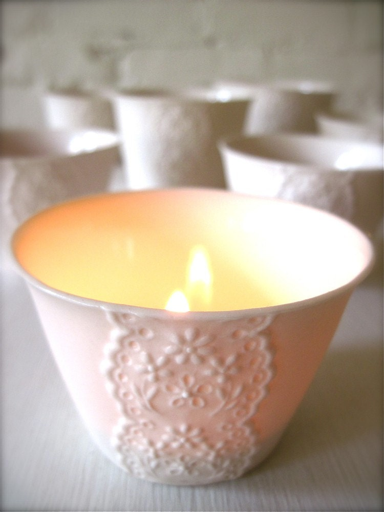 Porcelain Lace Cup, Translucent Candle Holder-Hideminy Lace Series