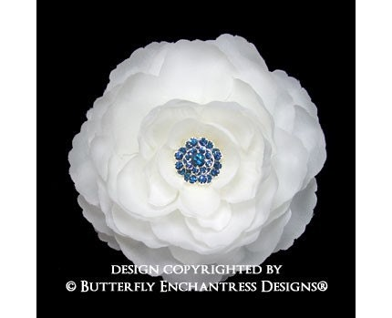 Something Blue Rhinestone Diamond White English Rose Flower Hair Clip