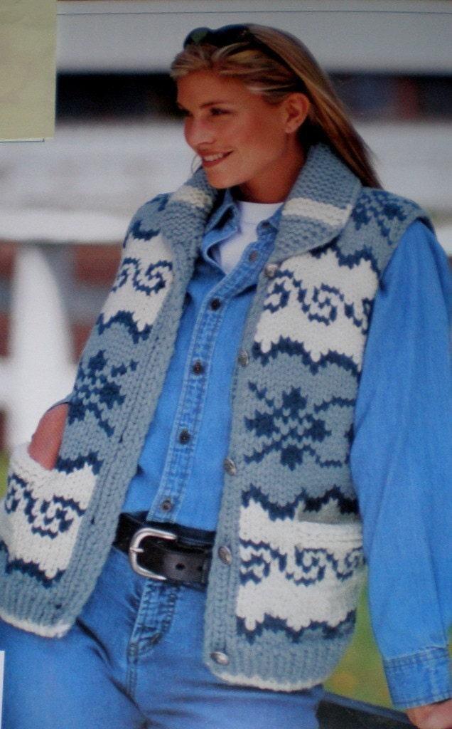 COWICHAN Sweater Knitting Pattern VEST Adult by ...