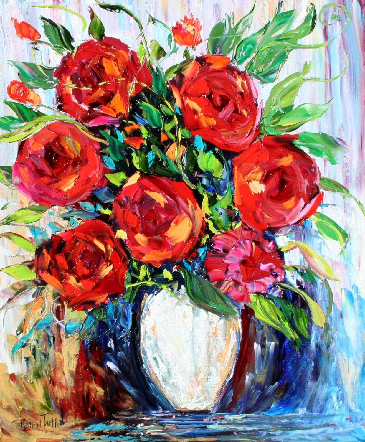 Karen Tarlton Original Oil Painting Romance of Roses - impasto palette knife art