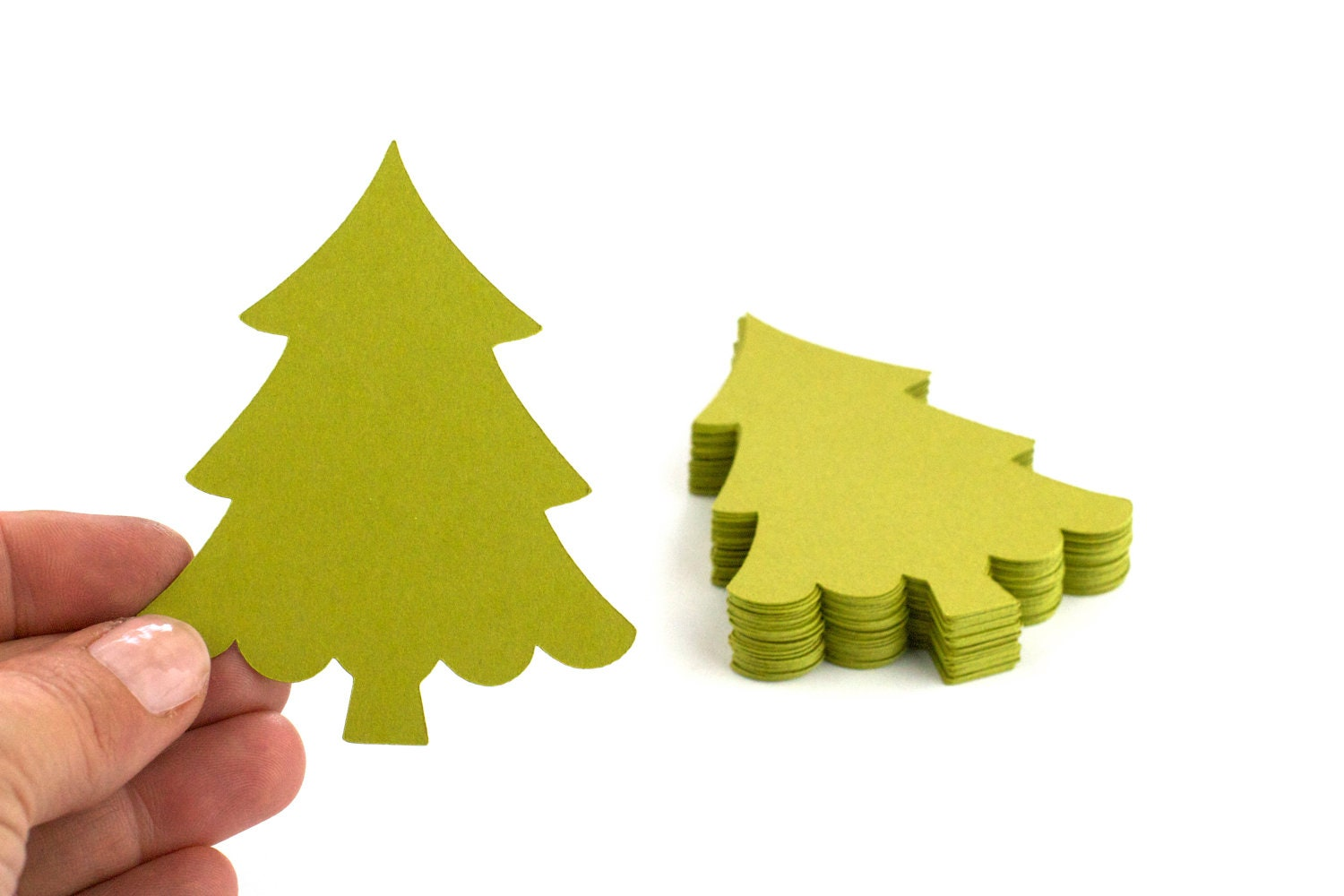 24 Christmas Tree Die Cuts - 3 x 2.5 - Perfect for Gift Tags, Journaling Spots, Scrapbooking / Art Projects - ElitePaperie