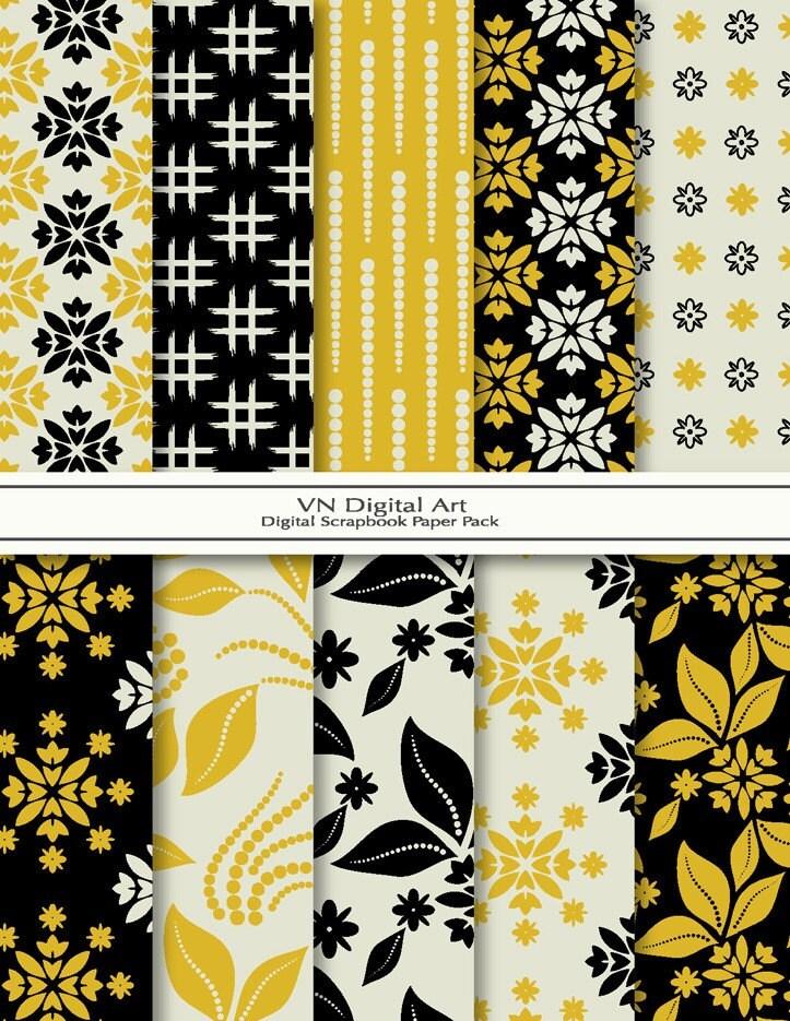 "Oriental Digital Scrapbook Paper Pack (8.5x11""-300 dpi) -- 10 Digital papers -- 236"