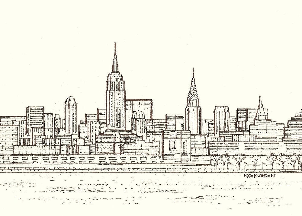 Line Drawing New York Skyline : Image gallery nyc skyline drawing easy
