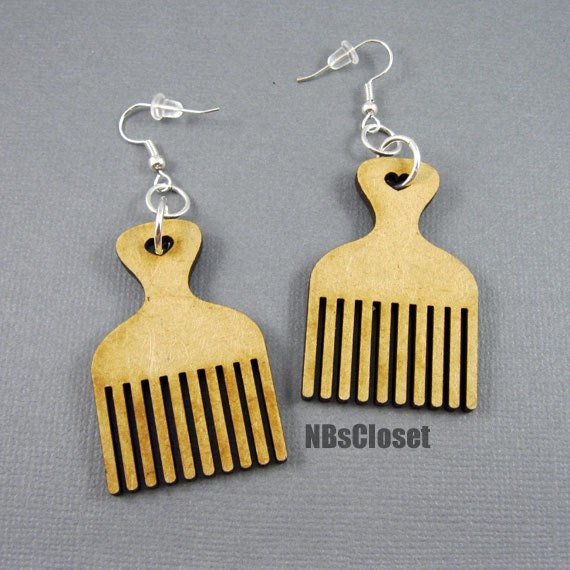Items Similar To Afro Pick Earrings On Etsy