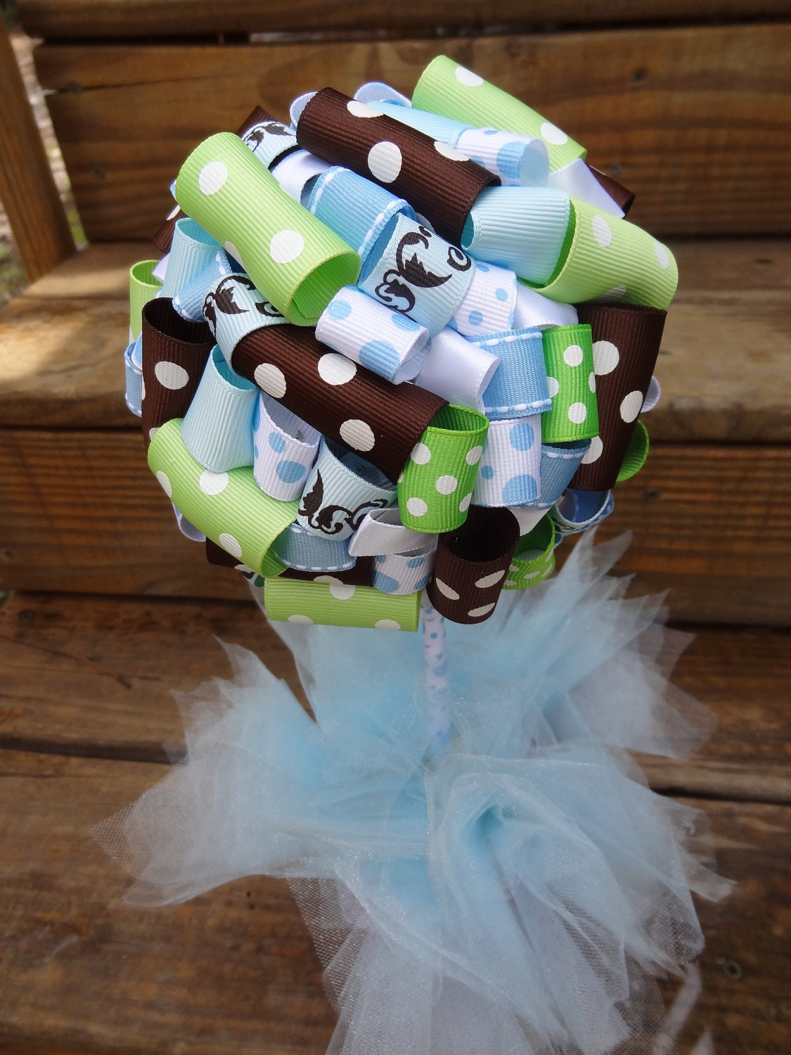 blue and brown baby shower table ideas photograph ribbon t