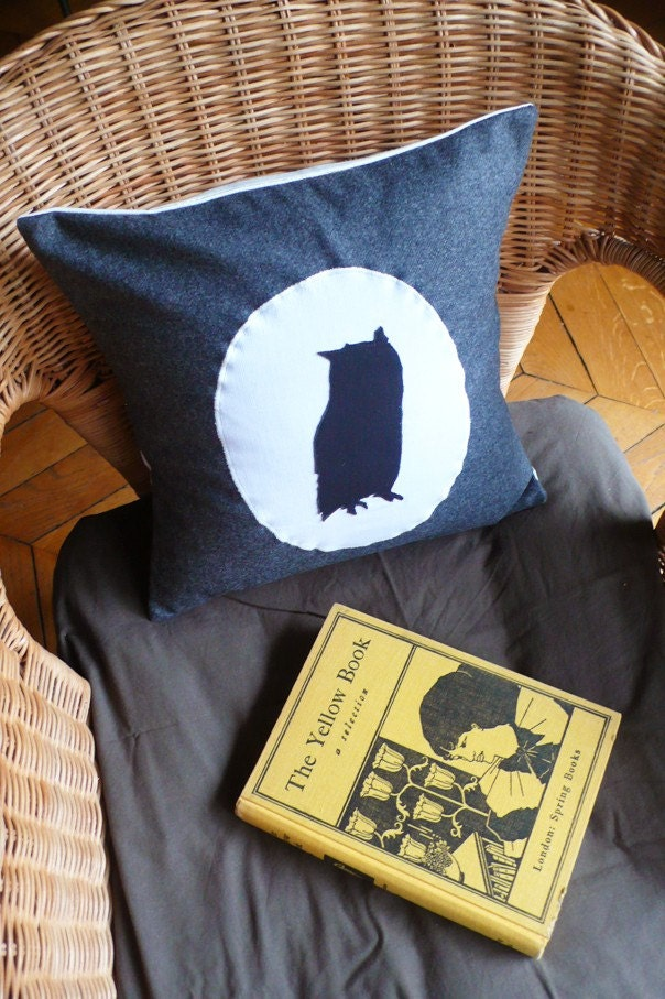 Owl Silhouette, cushion cover (charcoal)