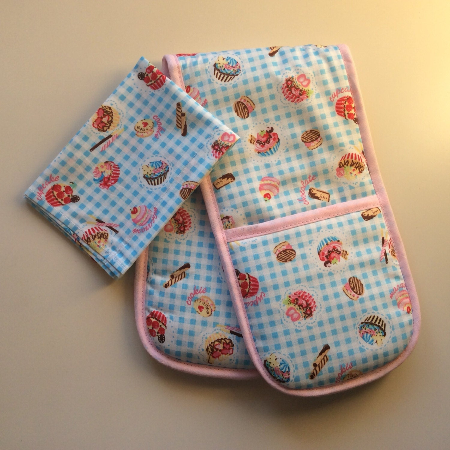 Toy Oven Glove and Tea Towel. Home corner toy kitchen blue cupcakes toddler gift