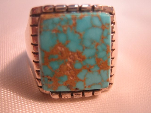 Mens Handmade  Turquoise 925 Silver Ring by Anastasisilverdesign from etsy.com