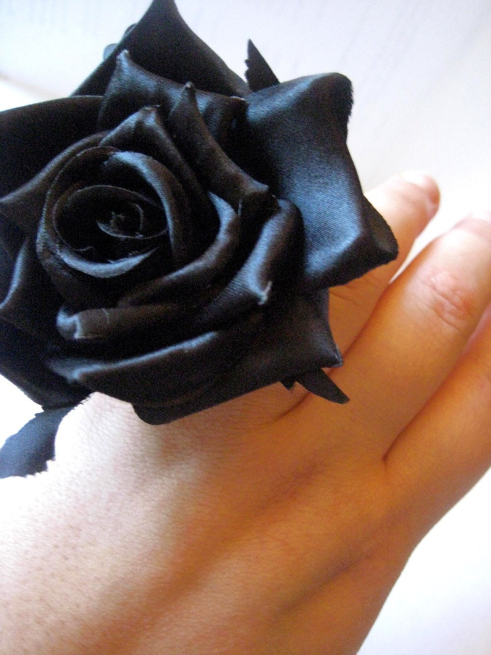 floral BLACK rose statement flower ring by elasticwasteland from etsy.com