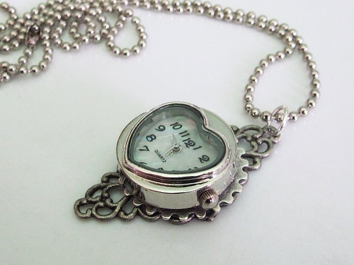 Custom Silver Heart Steampunk Clock Necklace with Decorative Gear