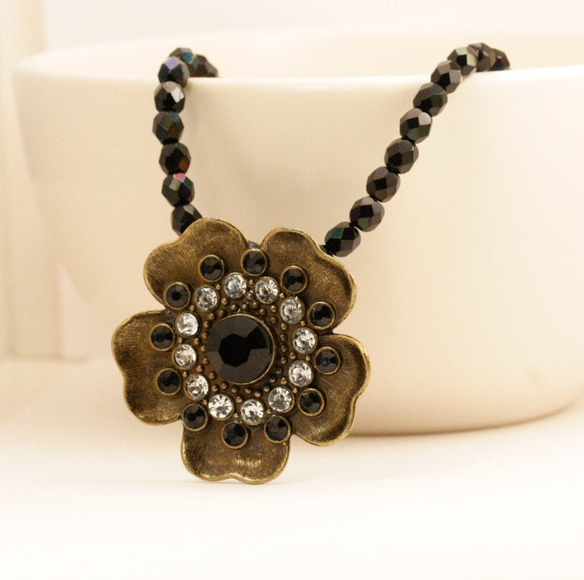 Black Blossom Brass Jeweled Necklace