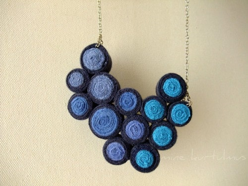 Blue Fibre Bib Necklace