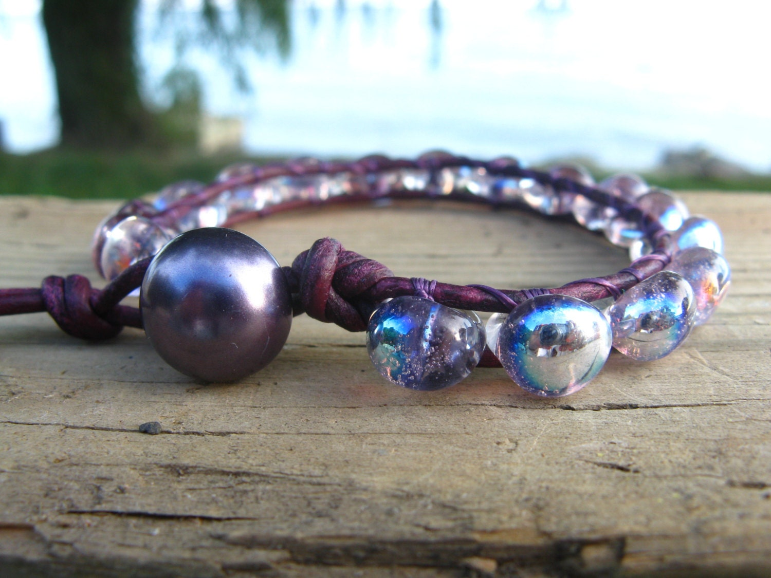 Shimmering Purple Leather Wrap Bracelet, Boro Beads, Beaded Leather Wrap, Single Leather Wrap - BearCreekCollection