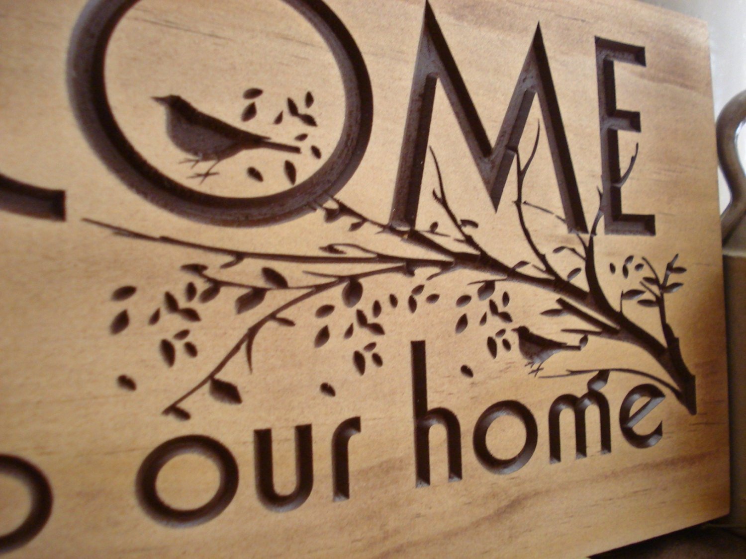 Carved Wooden Welcome Sign Nature Inspired Bird And Tree