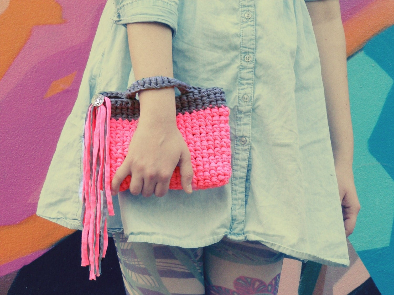 Neon Pink Crochet Clutch Fringes Geometric Pochette - aBanchOfFashion