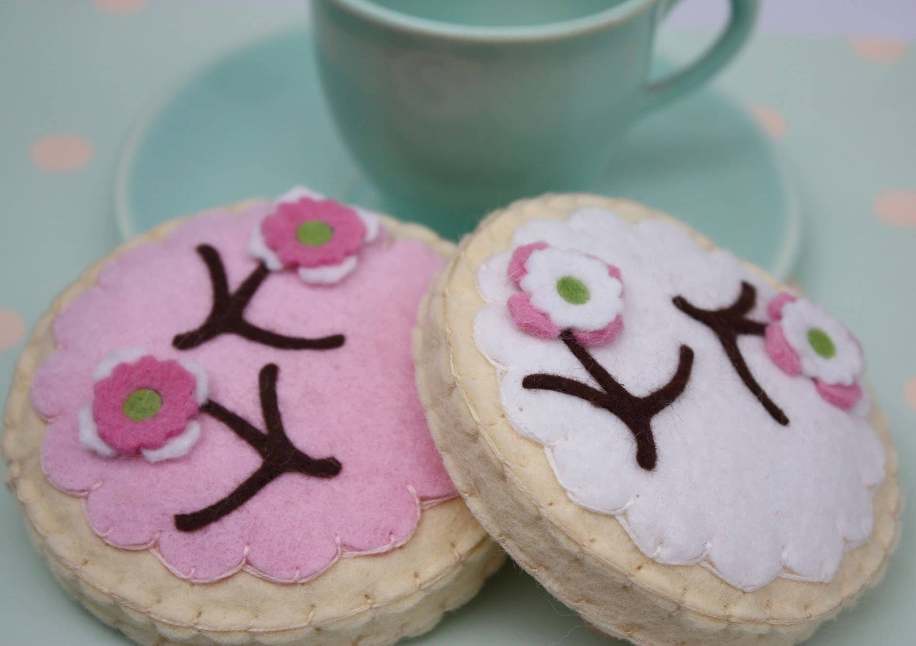 Two Felt Tea Pink And White Cherry Blossom Sugar Cookies