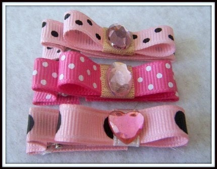 3 Hair Clip Set with Bow and Jewel