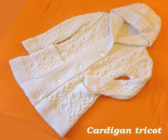 روپوش دار نشان و زمستان ، ژاکت کش باف پشمی - Handknitted طبیعی به رنگ سفید ، کرم