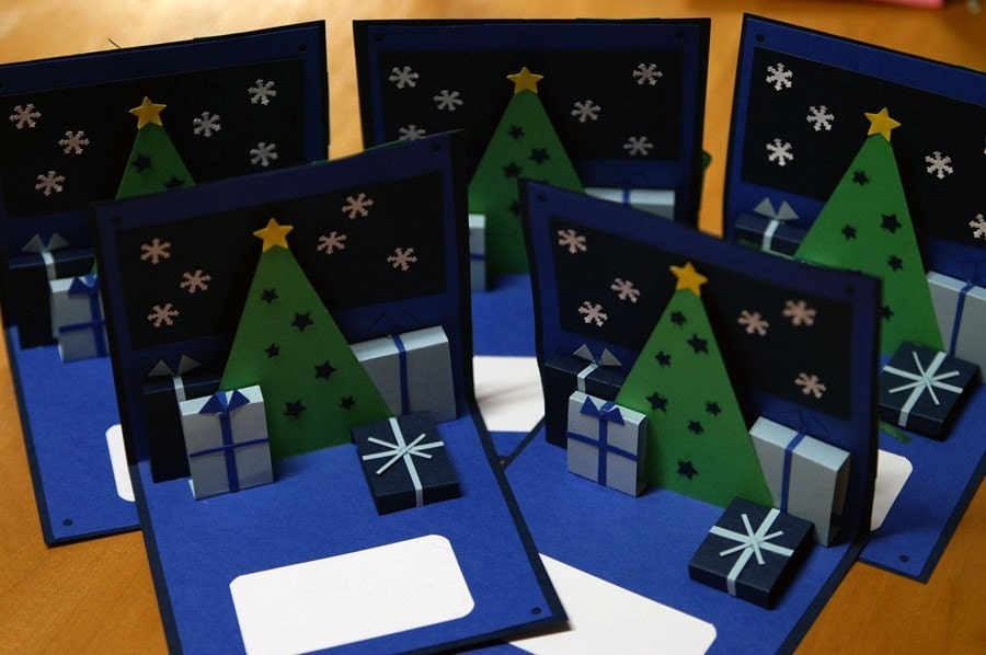 5 Pack - Blue Christmas Holidays Pop up Cards