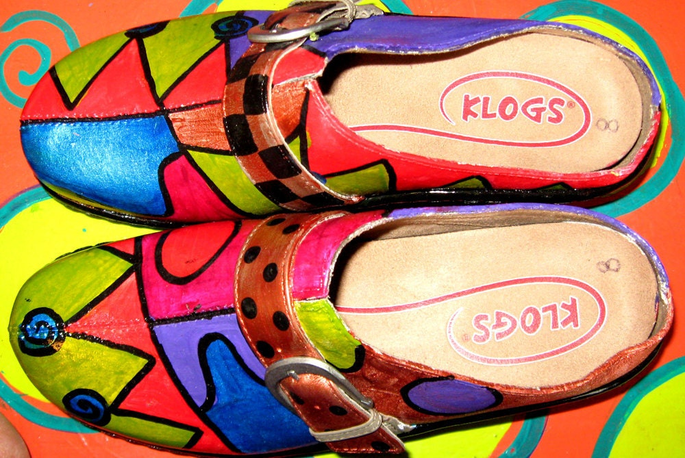 Hand painted leather Klog Shoe size 8