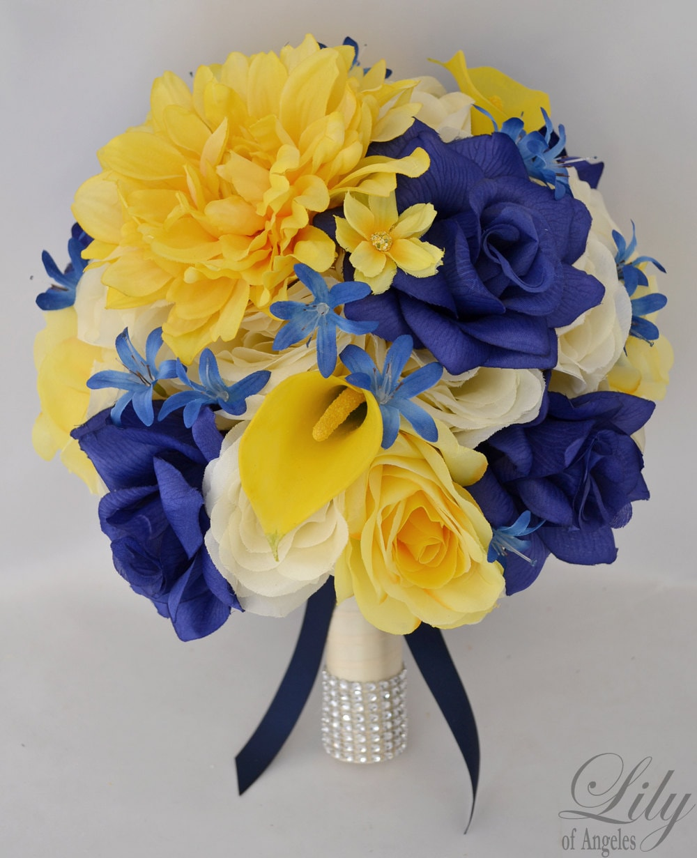 Wedding Bridal Bouquet Silk Flowers Bouquets Decoration 17 Pieces Package YELLOW BLUE NAVY Lily