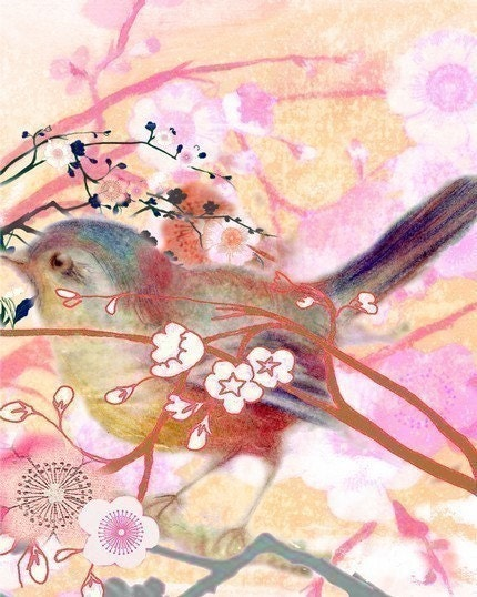 April - Bird and Blossoms Print - Free Shipping