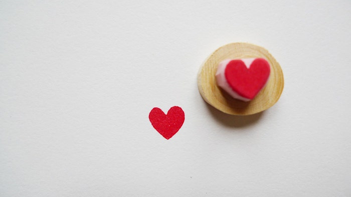 Hand Carved Tiny Heart Rubber Stamp