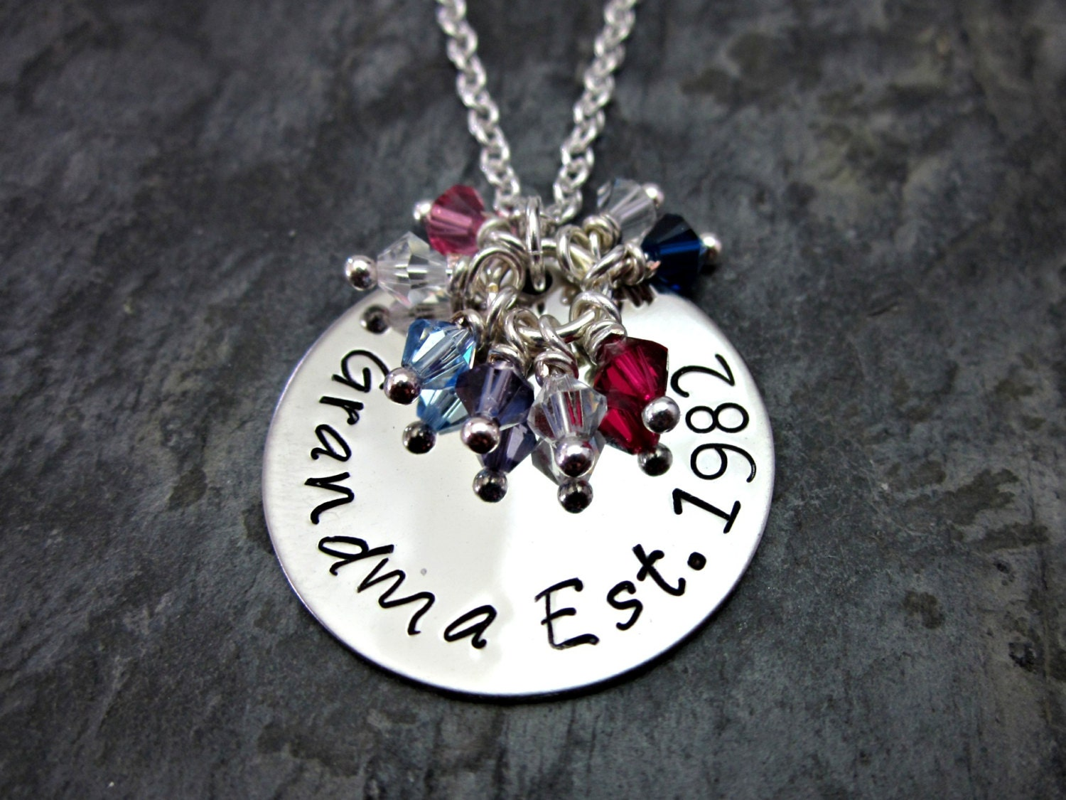 Grandma's / Grandmother's Necklace - Personalized with Birthstones and Established Date