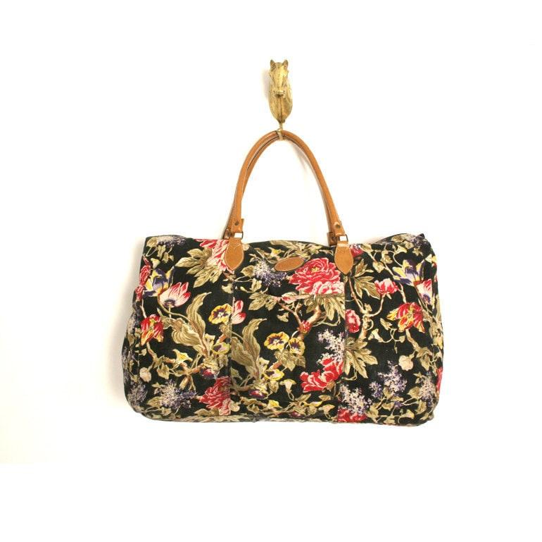 Vintage Floral Canvas Duffle Bag By Santokivintage On Etsy