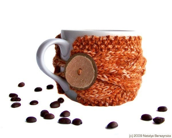 Coffee Cup Cozy, Tea Mug Sleeve, Orange Tangerine, Knitted Cabled