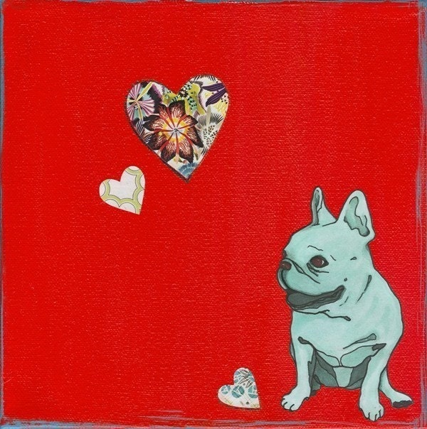 henri with hearts - aqua/red - 8 x 8 print