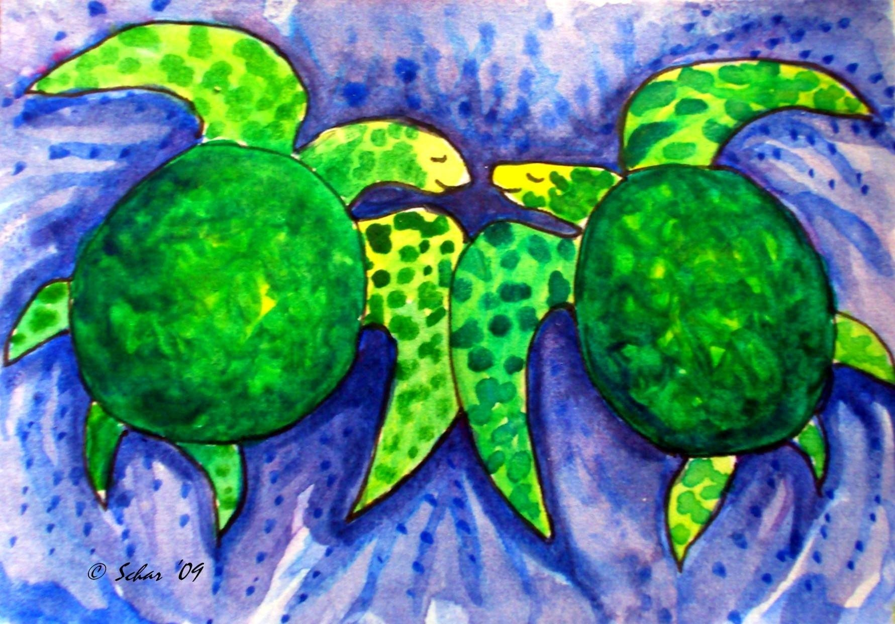 Turtle Love- matted print