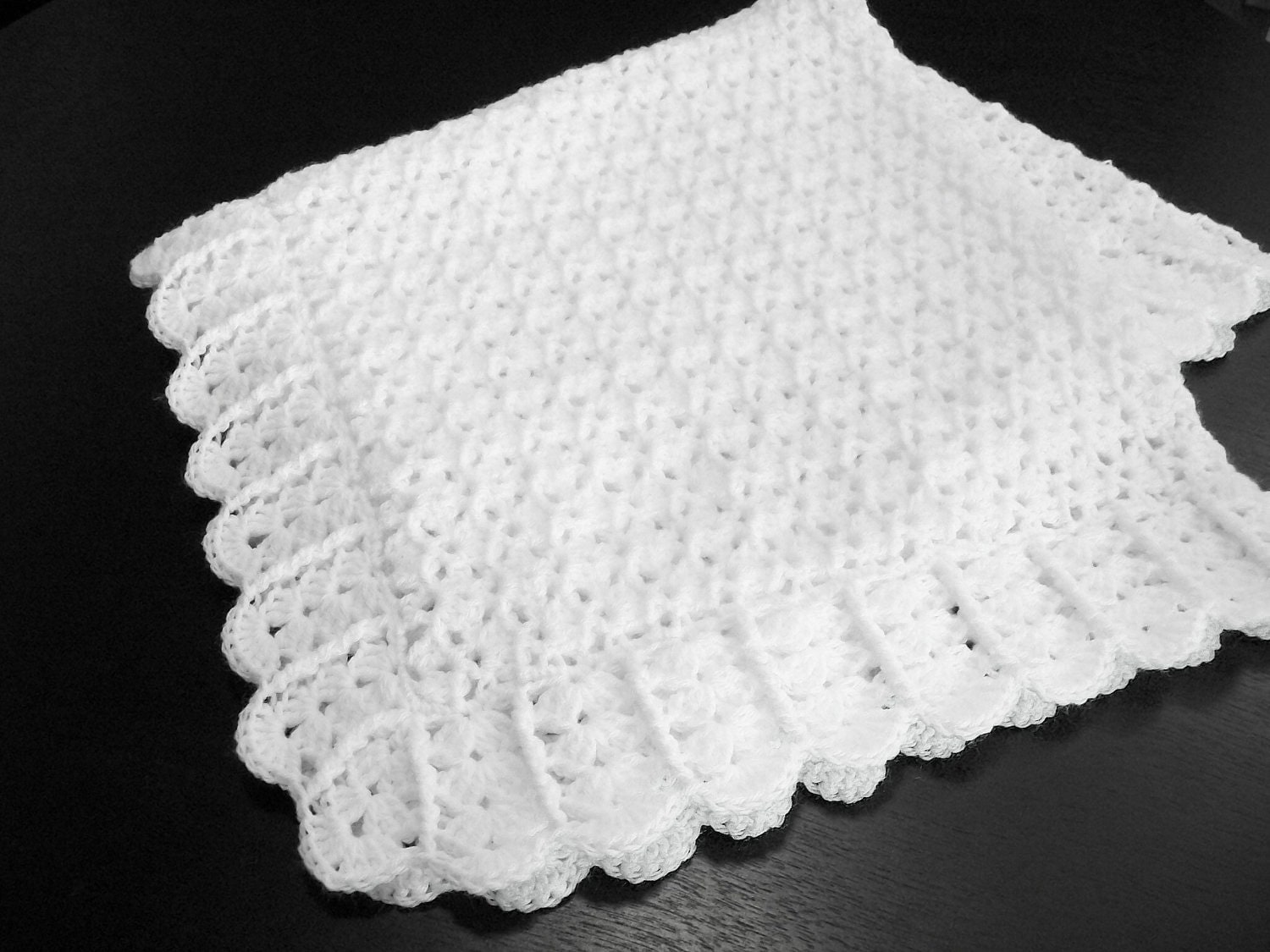 Free Knitting Patterns For Baby Christening Blankets : Crochet White Baby Blanket Afghan Christening by ...