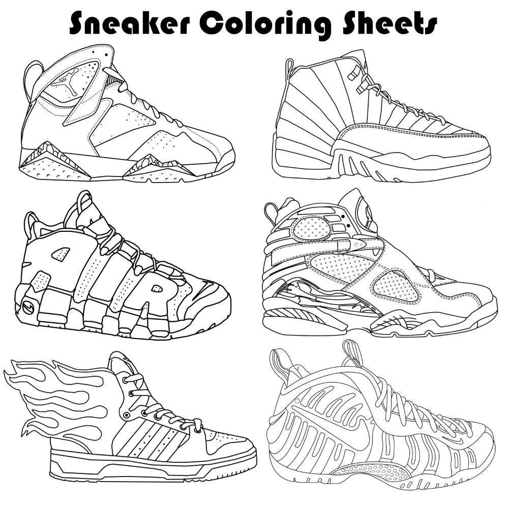 sneaker coloring page sketch coloring page