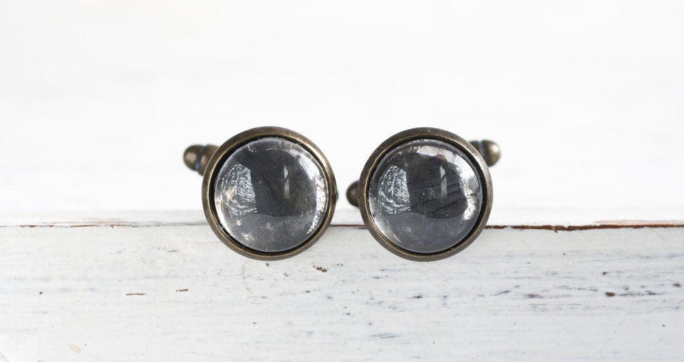 Men's Mirror Cuff Links - Hand Antiqued Mirrors on Oxidized Brass Finish Cuff Links - Steampunk Modern OOAK Gift for Him - AlchemyInGlass