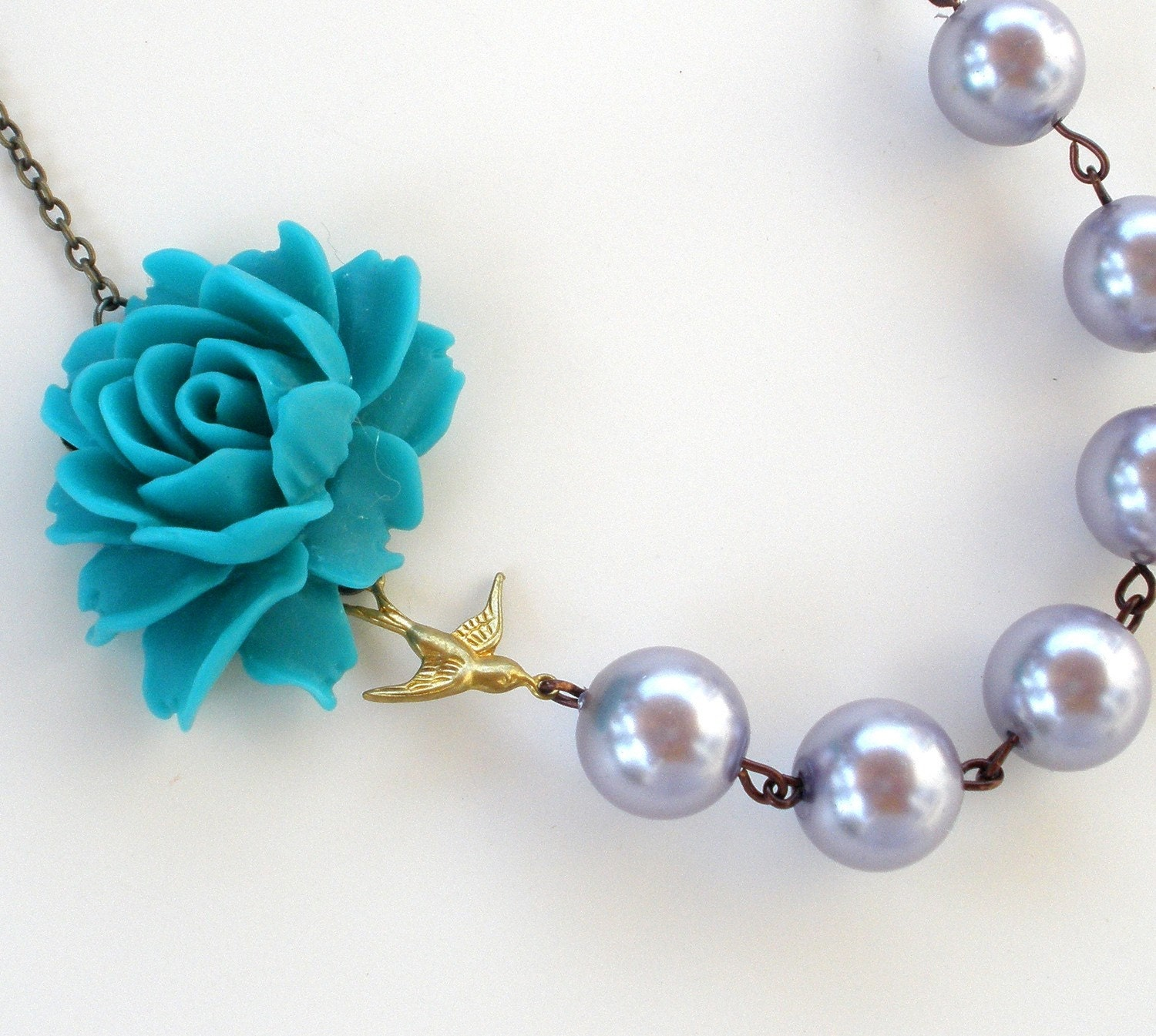Pearl Sparrow Flower Cabochon Necklace - Teal, Grey, Silver, Bird