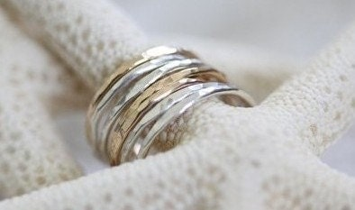 Set of 7 stackable rings - mix metal lucky 7 rings - MADE TO ORDER