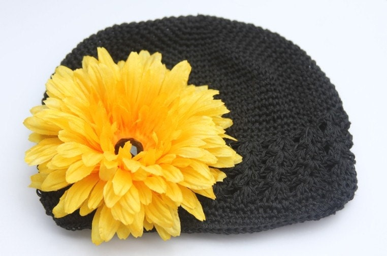 Yellow Flower Clip and Cozy Charcoal Black Crochet Beanie Baby Toddler and Big Girls Hat