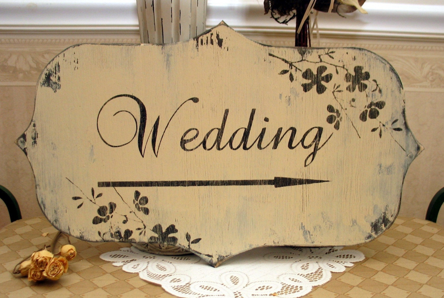 BRIDAL / WEDDING shabby signs with arrow and flowers SignsByDiane