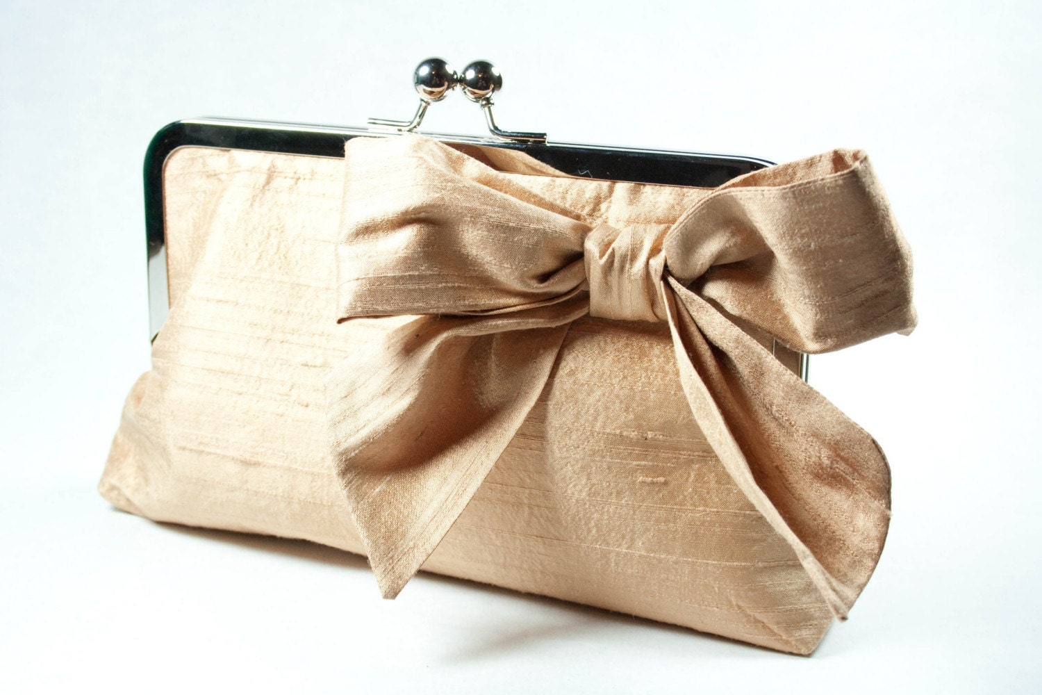 Jennifer bow clutch in chai dupioni silk